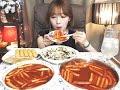 신전떡볶이3인,튀김,참치마요덮밥 :슈기의 먹방 [Shoogi's Eating Show] tteokbokki mukbang