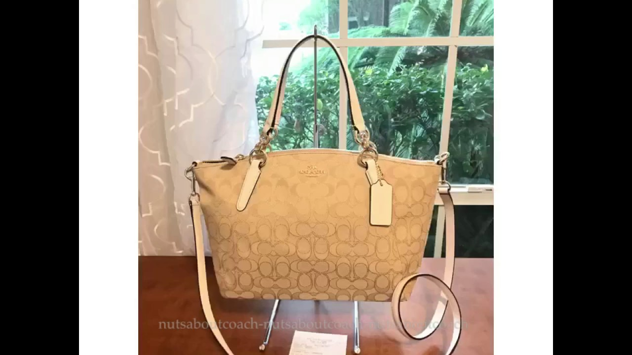 338985aa3615 COACH SMALL KELSEY OUTLINE SIGNATURE FABRIC 58283-CHALK - YouTube