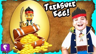 Worlds BIGGEST Gold TREASURE Surprise Egg! Disney Toys, Jake Pirate + Captain Hook By HobbyKidsTV