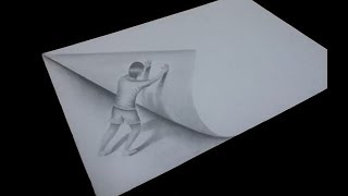 3D Trick Art - How To Draw A Man Pushing A Paper - cool and easy designs to draw on paper