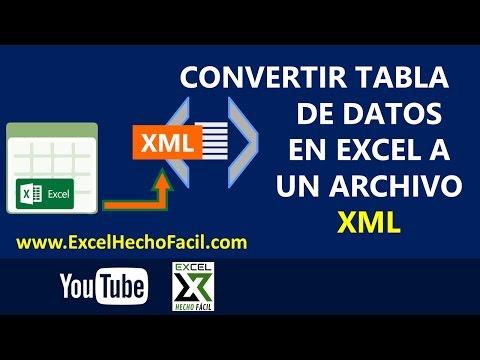 Convertir tabla de datos en Excel a un archivo XML