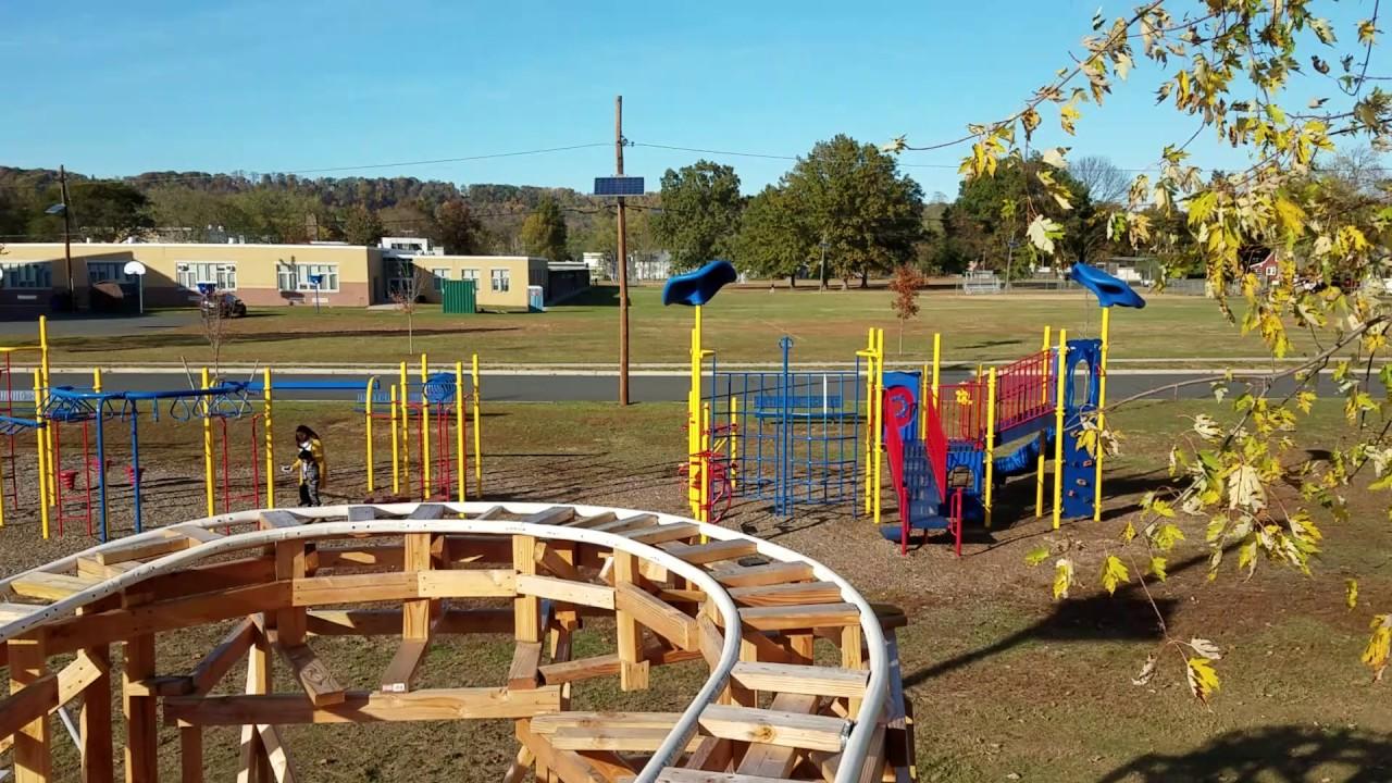 Backyard homemade pvc rollercoaster daytime pov - YouTube