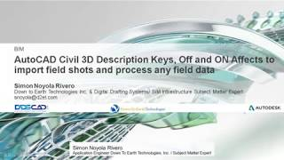 AUTODESK CIVI 3D 2020 DESCRIPTION KEY OFF OR ON PROCESS FIELD DATA