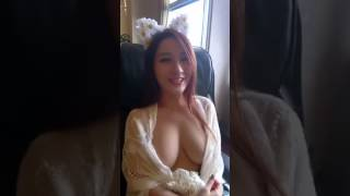 Naked chinese girl in massage chair