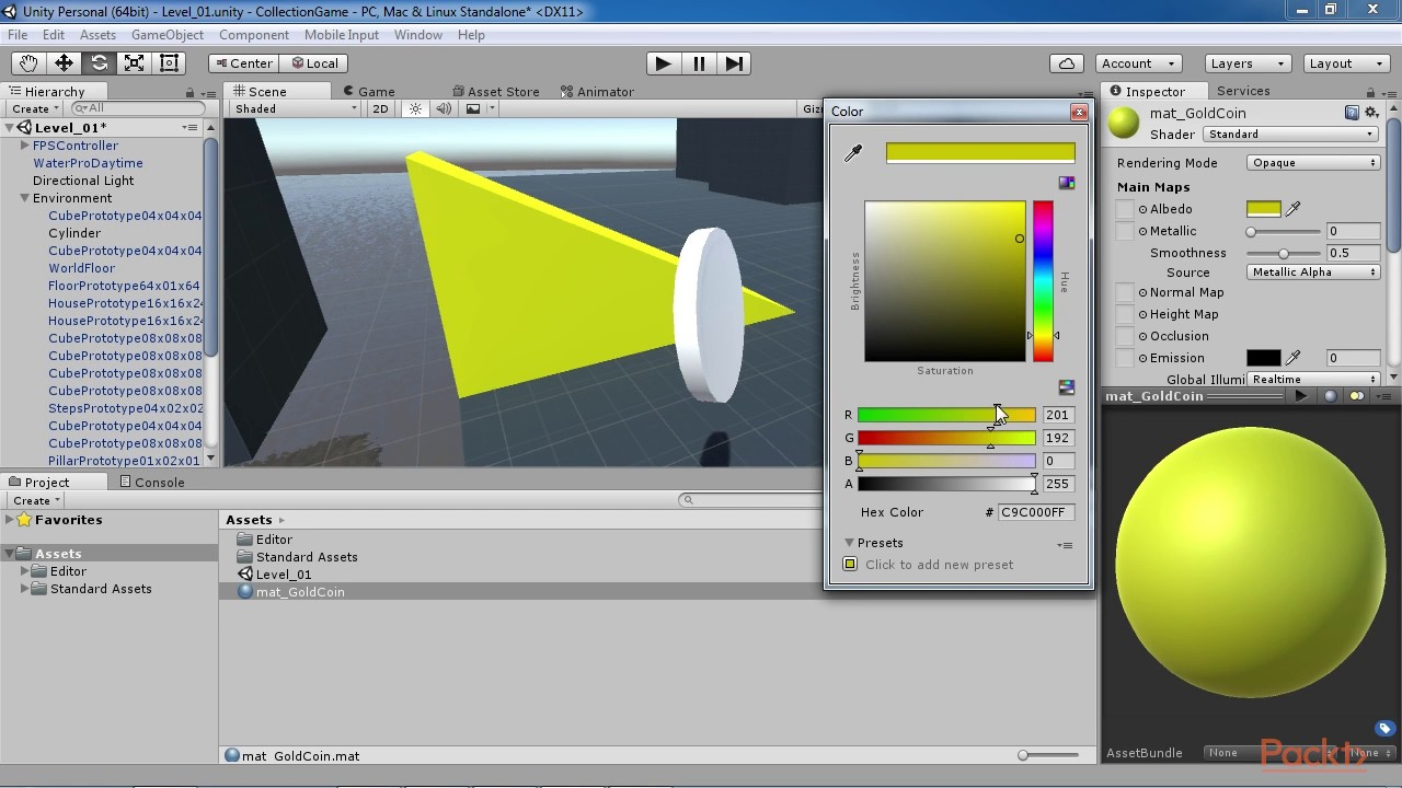 Unity 5 x by Example : Creating a Coin Material | packtpub com