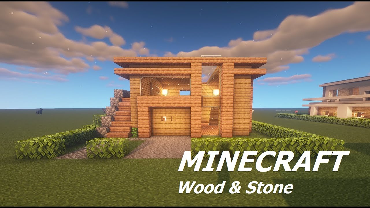 Modern House With Only Wood And Stone Minecraft Map