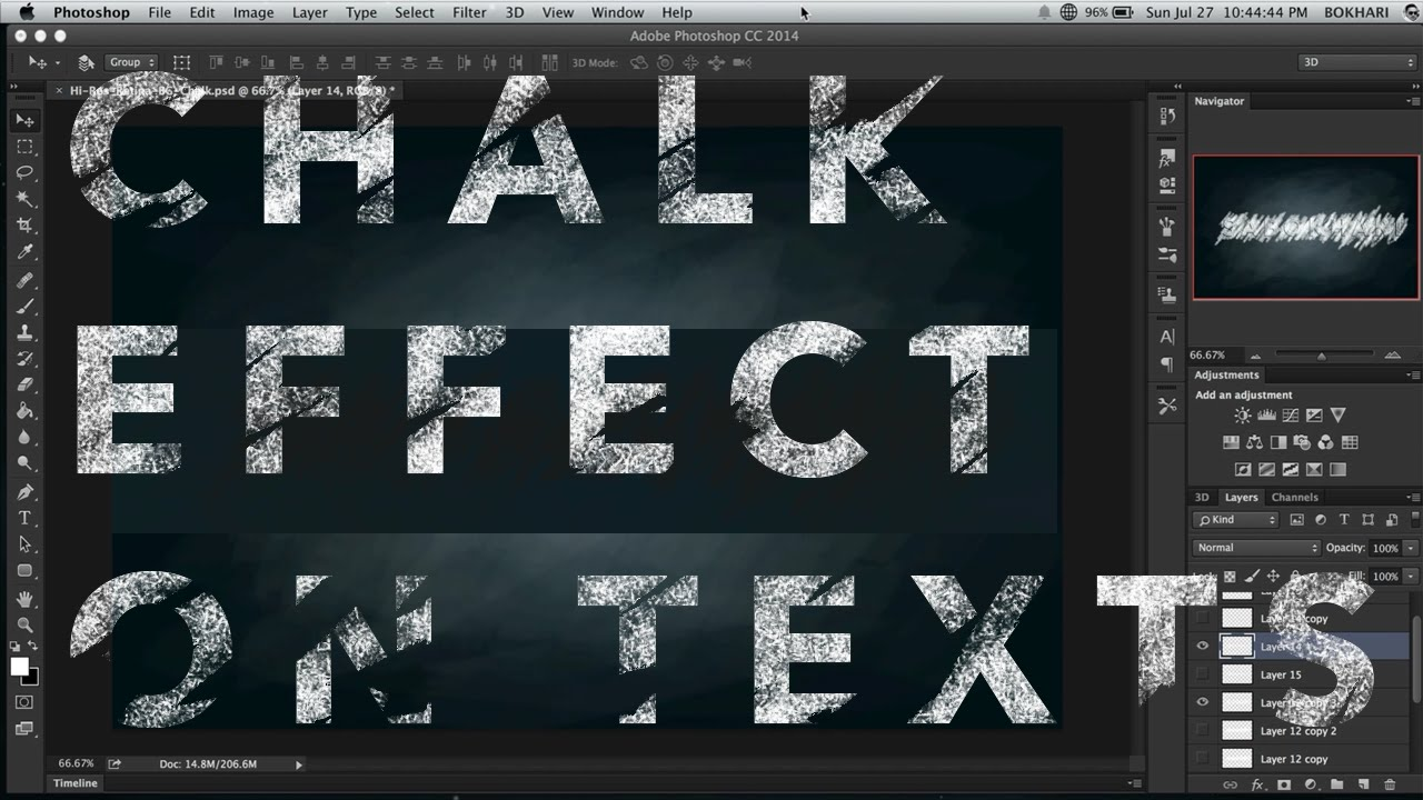 How to make font look like chalk in photoshop