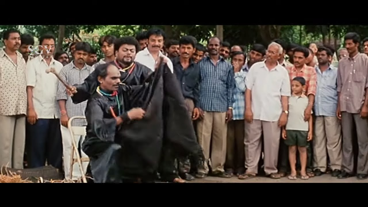 Sadhu Kokila and Biradar Performing Magic Show in Public   Comedy Scene   Jackpot Kannada Movie