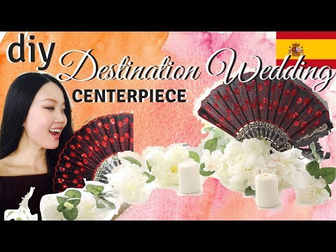 DESTINATION WEDDING IDEA || DIY Spanish Fan Centerpiece || easy & travels well