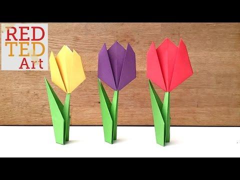 Easy Paper Tulip Origami Flower Youtube