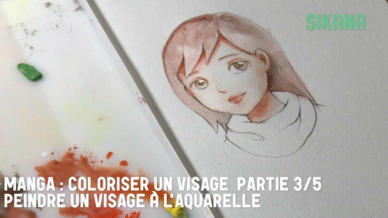 colorisation visage aquarelle manga 3 peindre le visage apprendre dessiner youtube. Black Bedroom Furniture Sets. Home Design Ideas