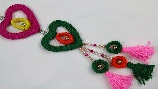Woolen Craft Idea | How to Make Door Hanging Toran Using Woolen -DIY arts and crafts - woolen design