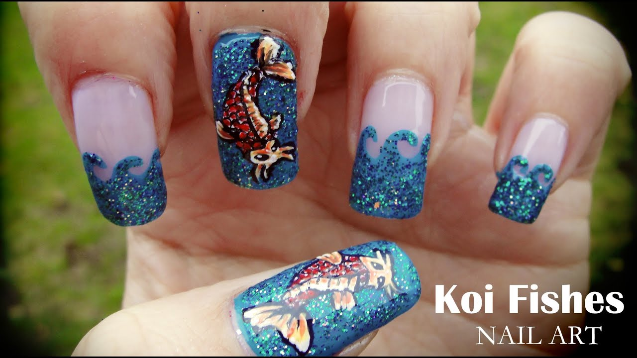 Koi Fishes nail art - YouTube