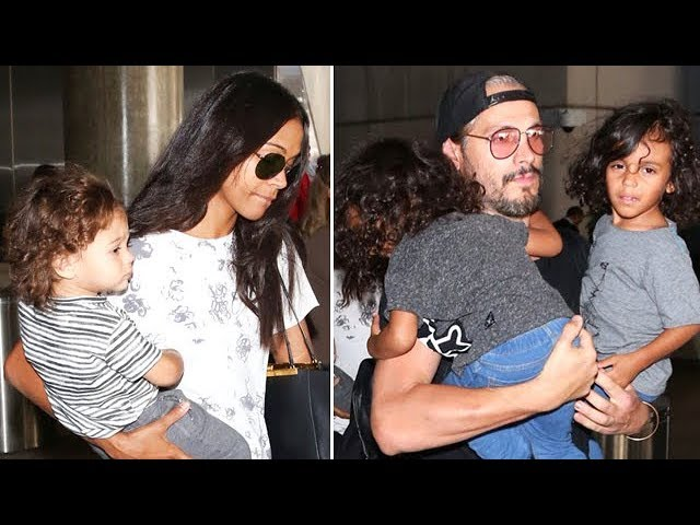 EXCLUSIVE - Zoe Saldana And Marco Perego Have Their Hands Full At LAX