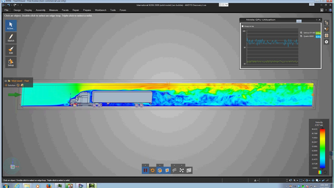 Aerodynamics simulation of a FHWA Class 9 semi-tractor trailer using Ansys  Discovery Live 19 0