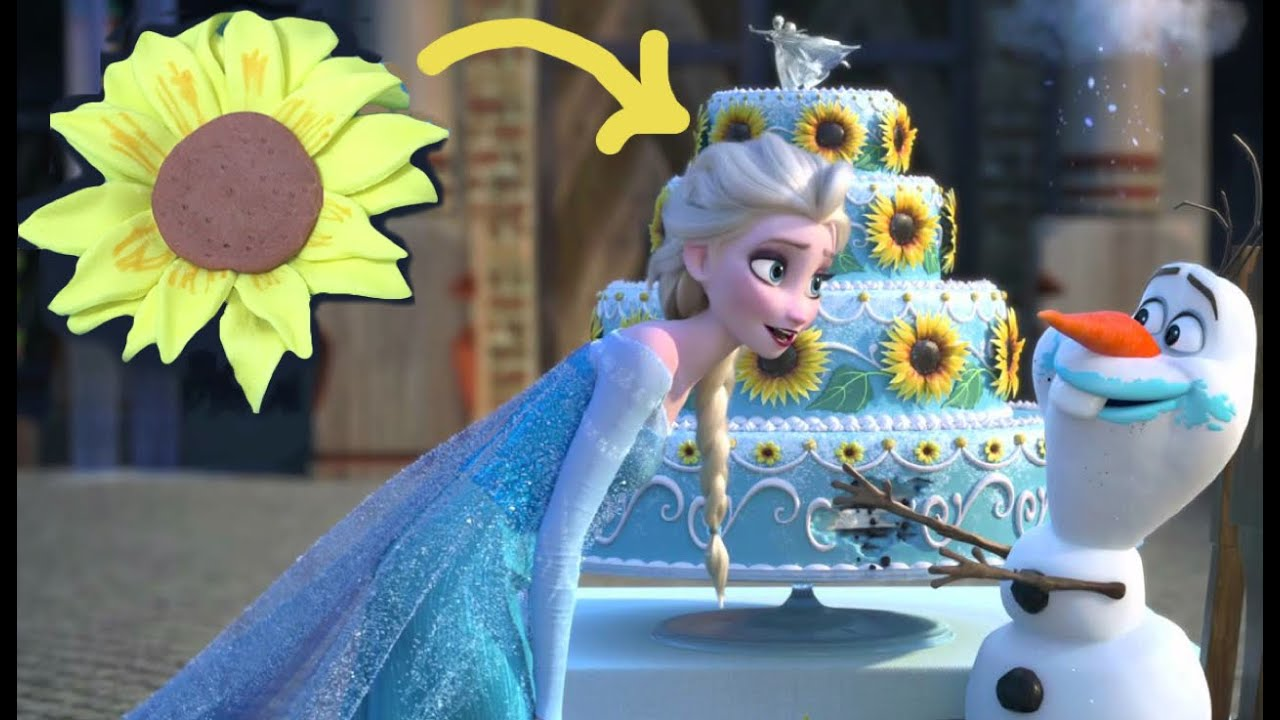 Frozen Fever Como Hacer Girasoles De Fondant Sin Cortador Youtube