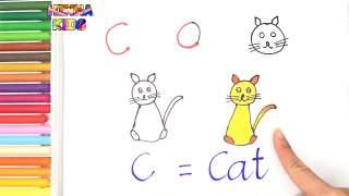 How To Draw and Color a Cat Easy Steps By Step ✅How To Teach Baby To Speak English