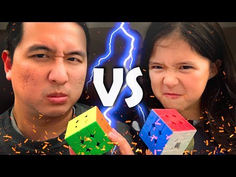 DAD Vs 7 YEAR OLD DAUGHTER | Rubik's Cube Head To Head Challenge!!