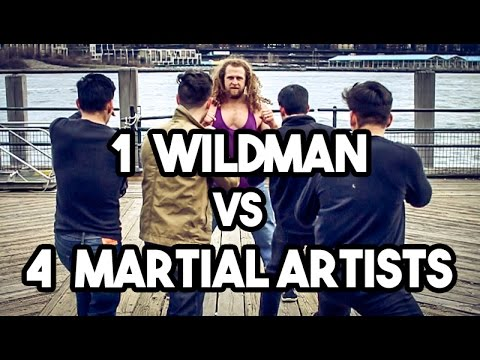 1 Wild man vs 4 Martial artists