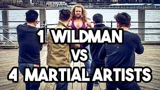 1 Wild man vs 4 Martial artists