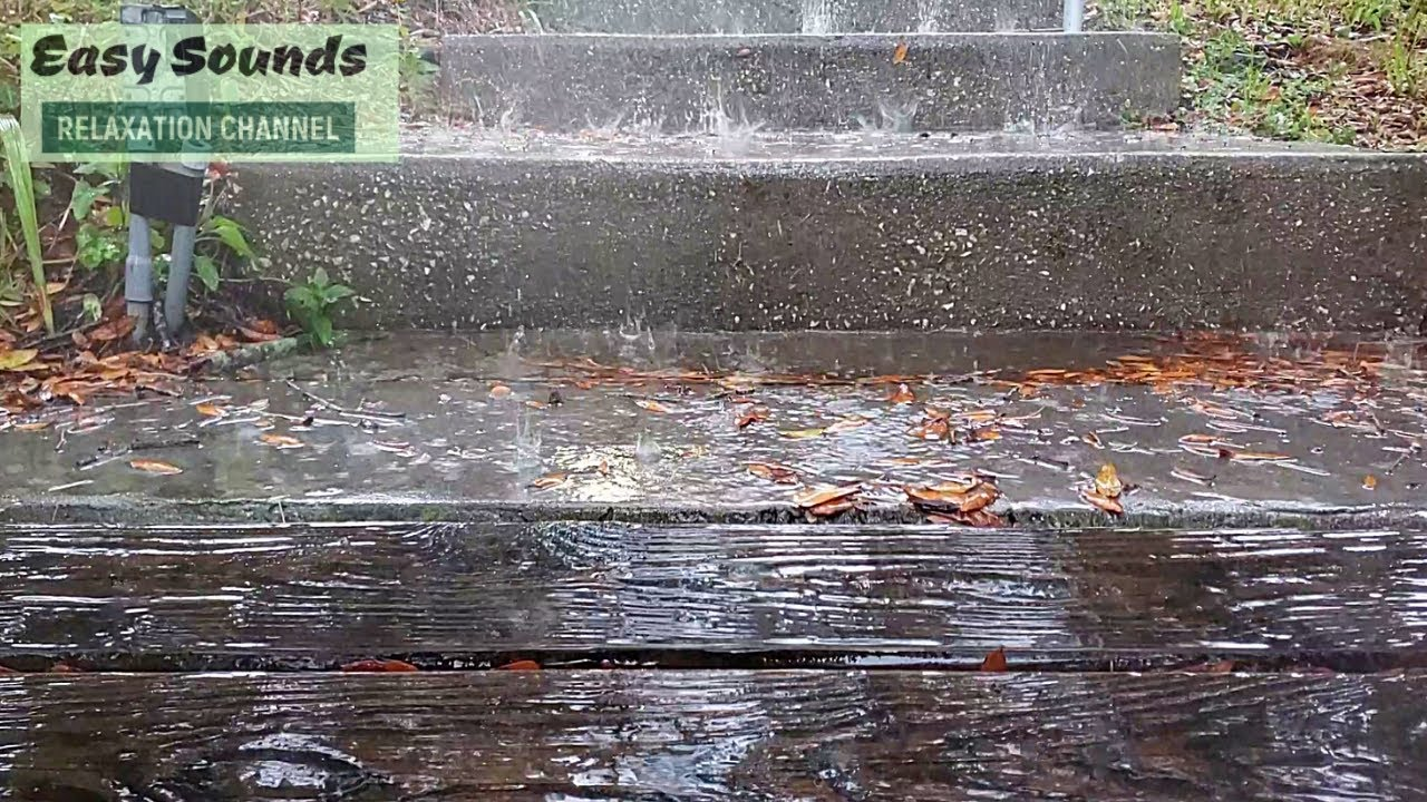 STRONG Rain Showers & THUNDER in the Stairs- Natural Rain Sounds for SLEEP & Relaxation-Sleep Sounds