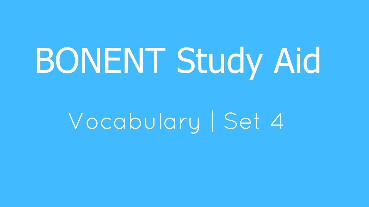 Bonent Study Aid Vocabulary Set 4 Youtube