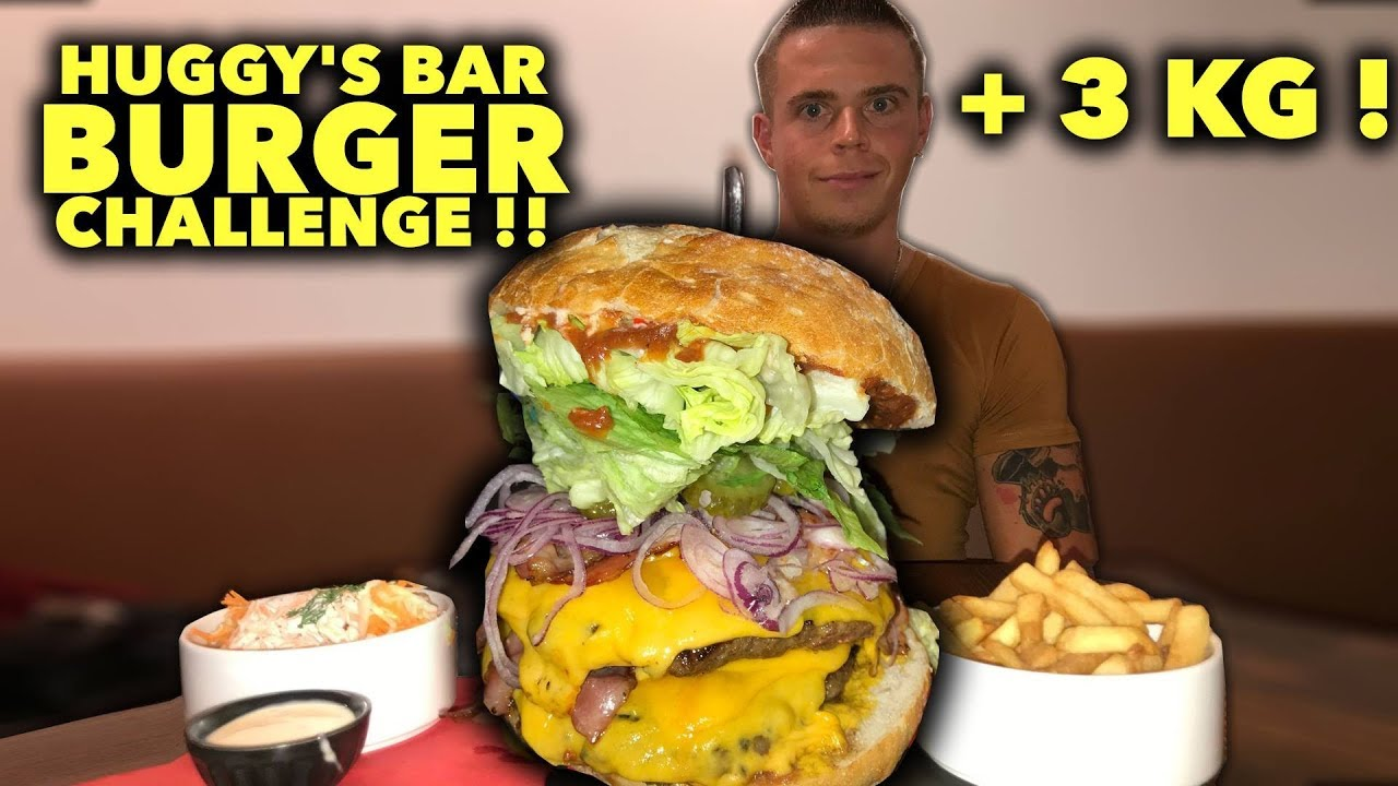 BURGER XXL de 3 KG en MOINS d'1 HEURE ?!! HUGGY'S BAR CHALLENGE BURGER !