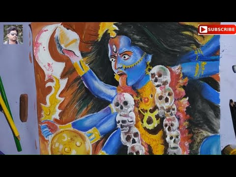 happy kali pujamaa kali drawing by color mixing midia for kali puja special