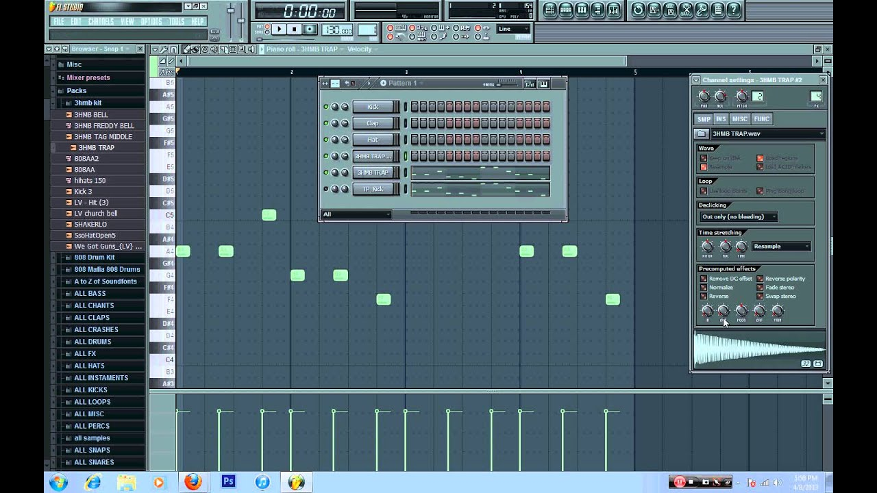 HOW TO MAKE A TRAP BEAT 808 BASS DRUMS [ FRUITY LOOPS 10 ][ @3HMB ]
