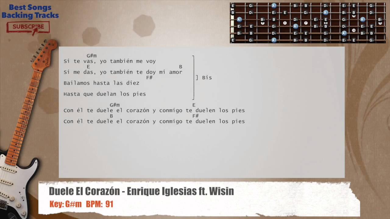 Duele El Corazon Enrique Iglesias Ft Wisin Guitar Backing Track