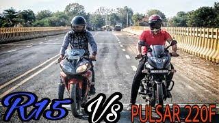 Bajaj Pulsar 220F(2017) Vs R15 yzf | Drag Race and Exhaust note.|| Ajay Motovlogs