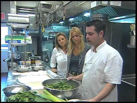 Yanna Darilis hosts  Mythos Restaurant Chef on Spanakopita recipe on Kalimera USA