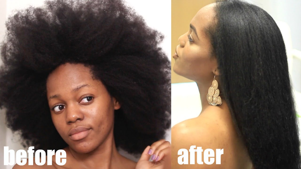 How To Straighten Natural Hair Without Heat Youtube