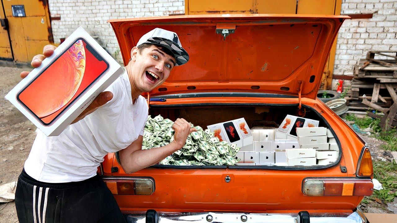 Открыли багажник ижа, а внутри куча техники и айфонов!