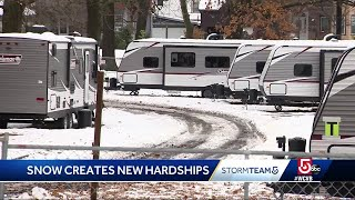 Residents still in cold from gas disaster now struggling with snow