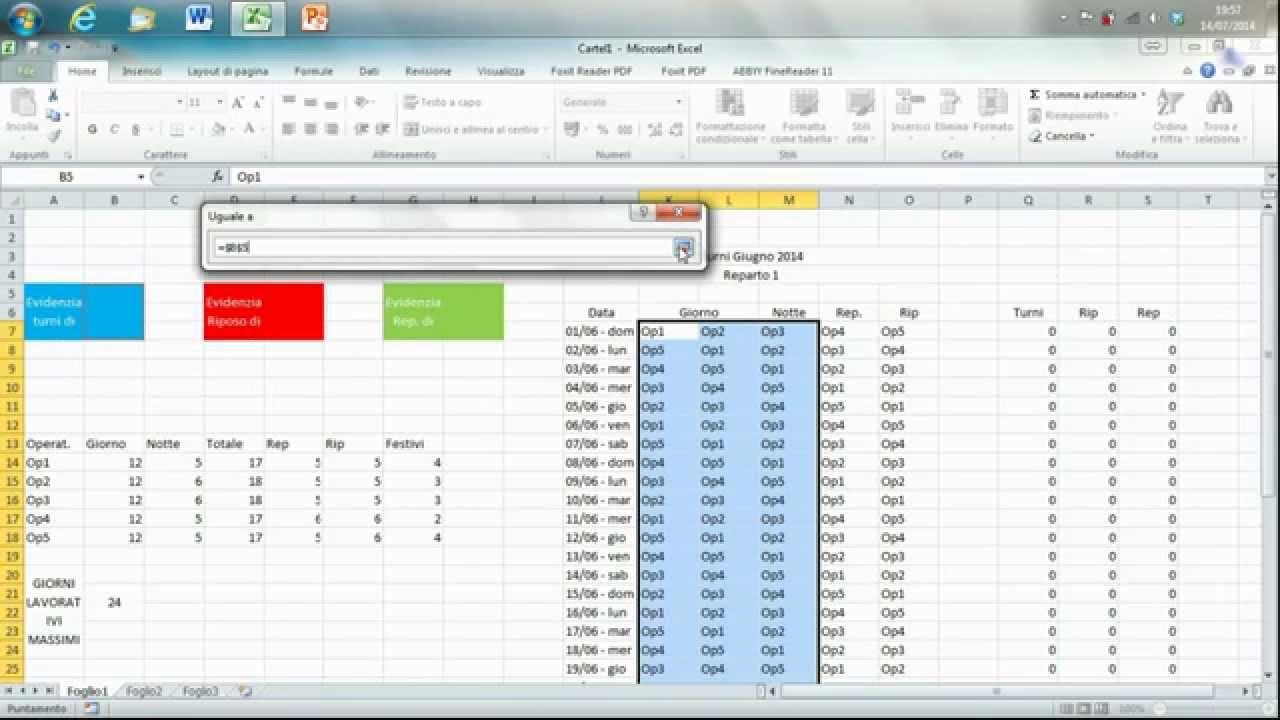 Calendario Prenotazioni Hotel Excel.Turni Interattivi Con Excel