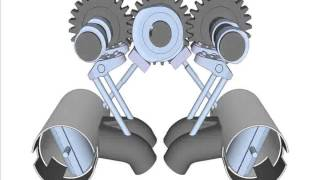 4 Cycle SIE Engine 3D Concept Animation with 3 gears