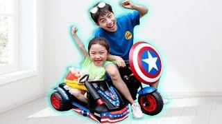 마슈! 캡틴 아메리카 오토바이로 아기 찾아주기! Captain America Motorcycle Power  Ride On Car Mashu ToysReview