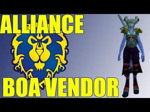 World of Warcraft: Warlords of Draenor Alliance Heirloom BoA Bind on Account Gear Vendor