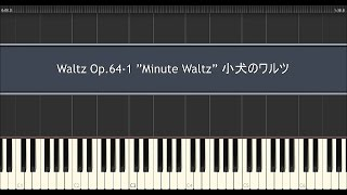 "小犬のワルツ ピアノ ショパン / Chopin Waltz Op.64-1 ""Minute Waltz"" Piano Tutorial"