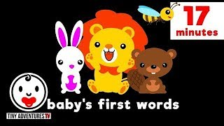 Baby's First Words   17 Minutes - Animals   Simple learning video for babies and toddlers