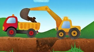 Repeat youtube video Tony the Truck & Construction Vehicles -  App for Kids: Diggers, Cranes, Bulldozer