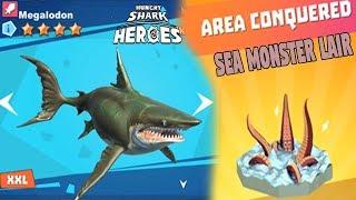 Hungry Shark Heroes #23 - AL FIN CONSIGO AL MÍTICO MEGALODON! SEA MONSTER LAIR COMPLETADO!