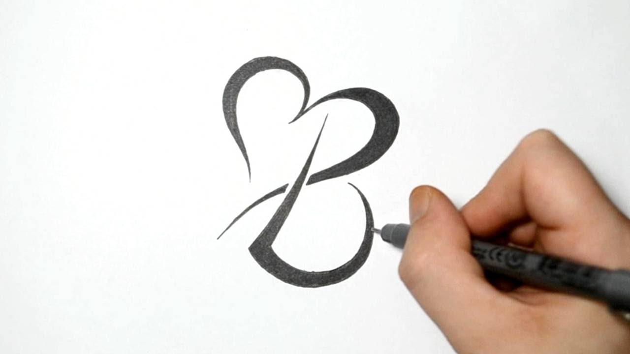 tribal initial b and heart tattoo design real time sketch youtube