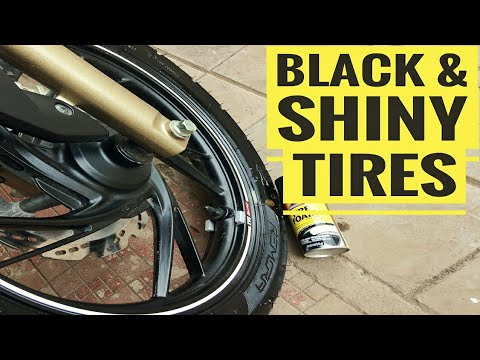 SECRET TO CLEAN SHINY & BLACK TIRES | CRACK PREVENTION ON TIRE | APACHE 200 | ARMOUR ALL TIRE FOAM