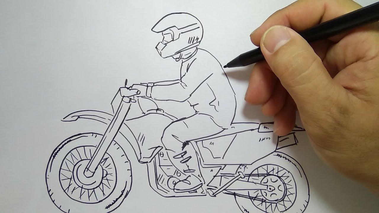 cara menggambar motorcross how to draw motor cross