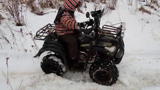 Как детский квадроцикл буксует но не едет зимой по снегу! Тест!