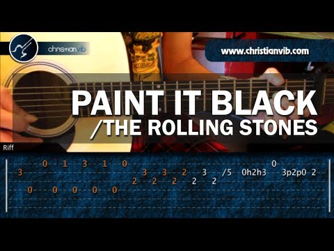 "Cómo tocar ""Paint it Black"" de The Rolling Stones en guitarra acústica (HD) Tutorial - Christianvib"