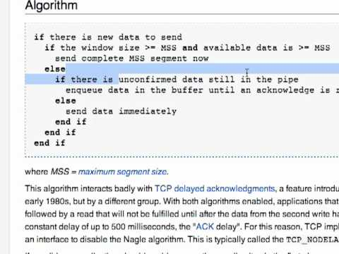Nagle's Algorithm & TCP Delayed Acknowledgements