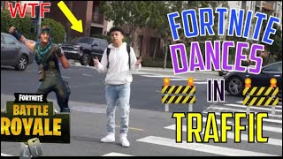 FORTNITE DANCES IN THE MIDDLE OF TRAFFIC! (Almost got ran over) 😱😱